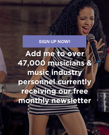 young female singer - sign up for our newsletter and musician classifieds